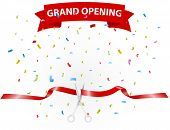 pic of confetti  - Vector Illustration of Grand opening background with confetti - JPG