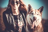 picture of wolf-dog  - The husky dog outdoor with happy girl behind - JPG