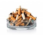 foto of butts  - Cigarette butts in the ashtray on white - JPG