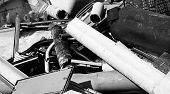 stock photo of landfills  - tubes and plastic pieces in special waste landfill controlled - JPG