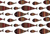 picture of tribal  - Vector seamless pattern with tribal fish - JPG