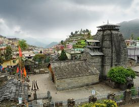 pic of trident  - Ancient temple of Lord Shiva and rarity trident in the Gopeshwar town in Himalaya - JPG