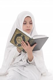 picture of islamic religious holy book  - Pretty Muslim Girl Studying Holy Book of Quran Isolated on White Background - JPG