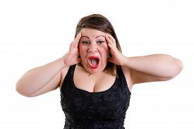 image of shock awe  - Terrified woman wearing low - JPG