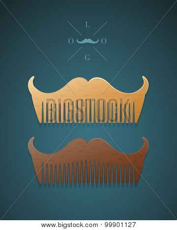 Vector illustration of hipster style comb in shape of mustaches