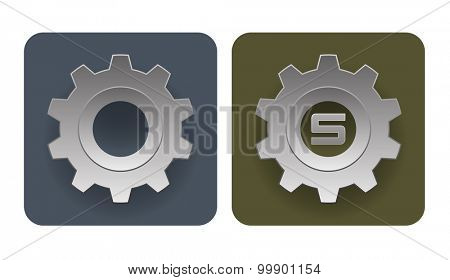 Vector illustration of simple industrial gear icons