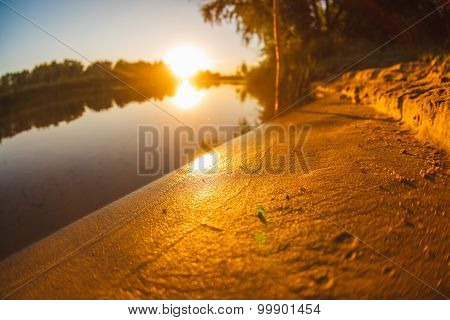 sunset on the beach fishing lake landscape river sun sets Sunris