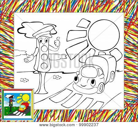 Traffic Lights And Lorry Coloring Book With Border