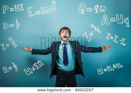 Teen boy genius scientist rastavit hand in hand formula physics