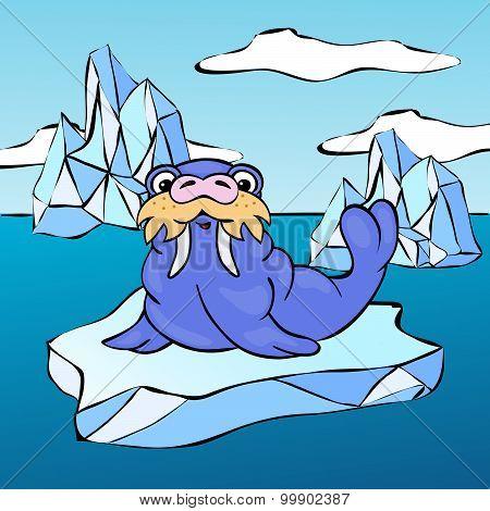 Walrus On The Iceberg