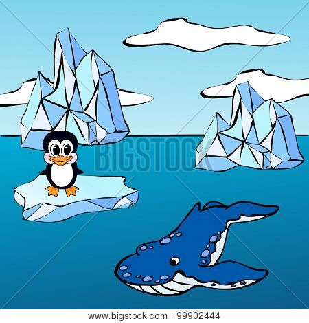 Whale Killer And Penguin