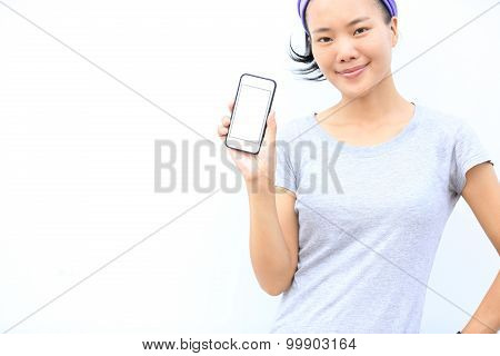 young asian woman with smartphone against white background