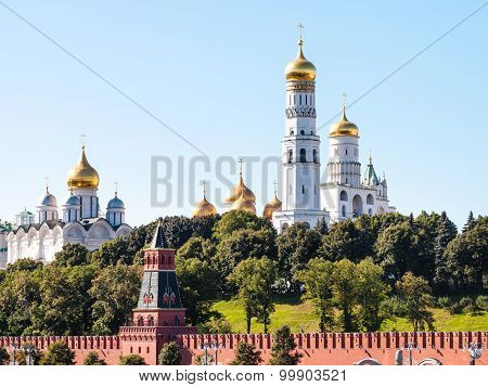 Cathedrals On Green Hills In Moscow Kremlin