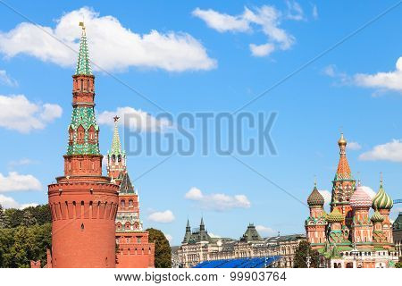 Towers Of Kremlin, St Basil Cathedral In Moscow