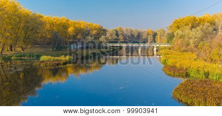 Autumnal afternoon on a Psel river in Ukraine