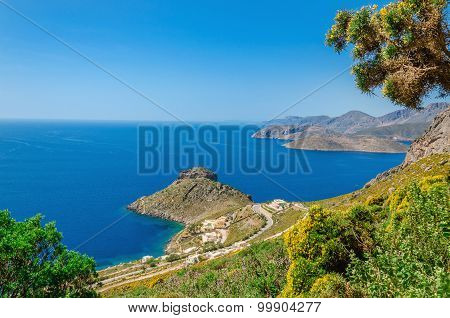 Greek sea bay with grass and bushes, Kos, Greece