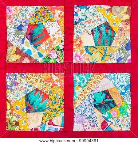 Four Details Of Hand Made Patchwork Quilt