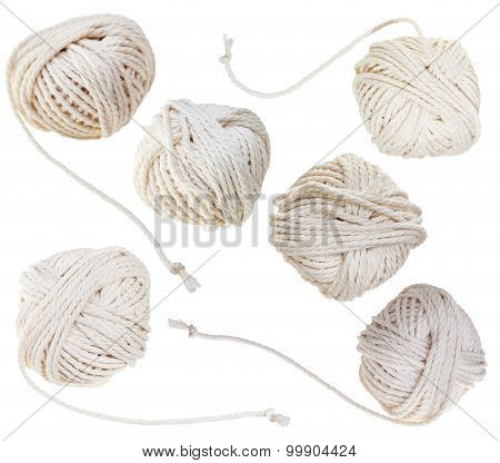 Set Of White Balls Of Cotton Ropes Isolated