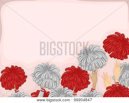 Background Illustration of Cheerleader Hands Throwing Pompoms in the Air