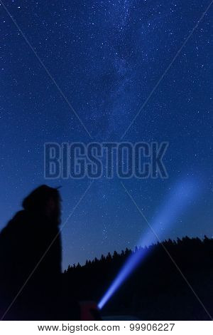 Man Observing Beautiful, Wide Blue Night Sky With Stars
