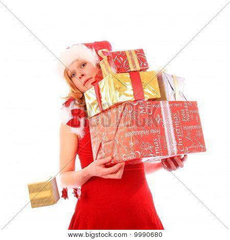 Miss Santa está perdendo uma caixa de presente ouro