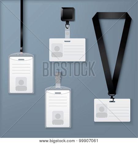 Lanyard, retractor and badge. Vector Template.