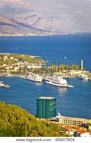 Split Harbor And Biokovo Mountain View