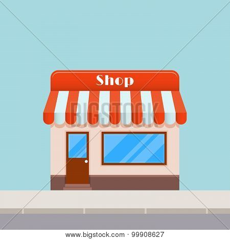 Bright Cartoon Shop With An Awning, Flat Style