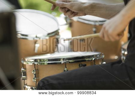 detail of a drummer on the rock concert,