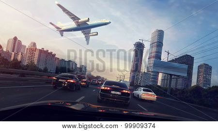 Urban landscape with a flying plane in the sky. Digital painting.
