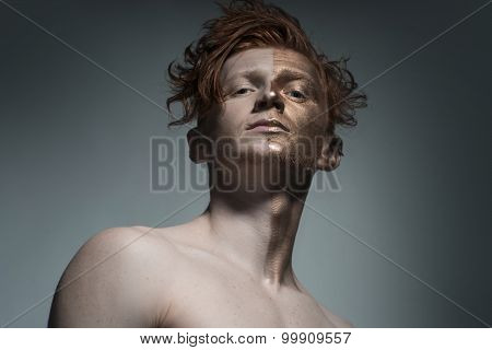 Stylish Man With Bronze Face