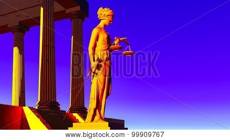 Lady Justice in court