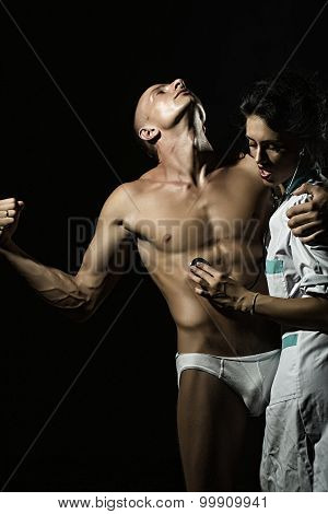 Undressed Man And Nurse