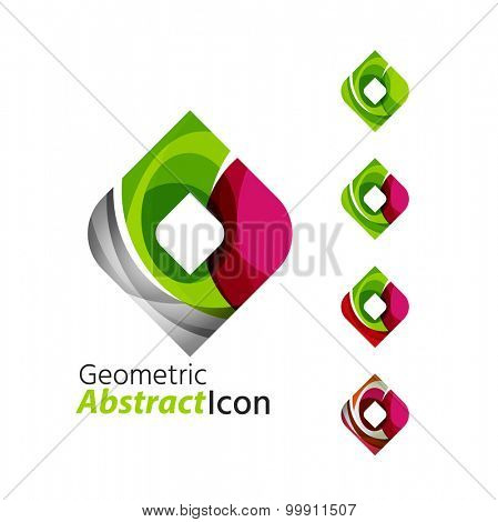 Set of abstract geometric company logo square, rhomb.  illustration of universal shape concept made of various wave overlapping elements