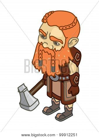 Stylized Dwarf With An Ax On A White Background