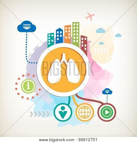 Lungs And City On Abstract Colorful Water Color Background