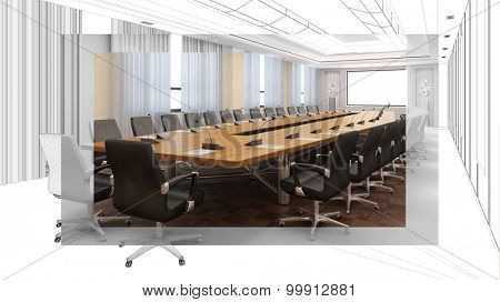 Planning and drafting conference room with CAD wiremesh frame and 3D Rendering
