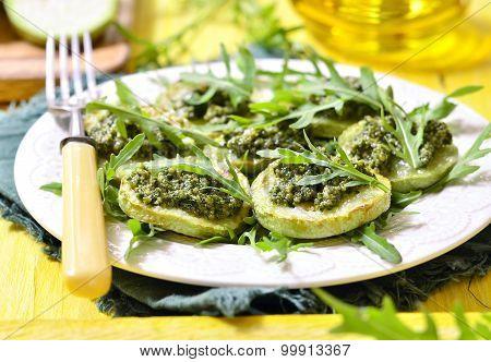 Fried Vegetable Marrow With Sauce Pesto.
