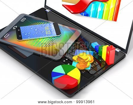 Laptop, Tablet Pc, Smartphone, Credit Card, Coins And Diagram Are Close-up.