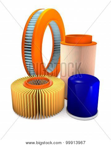 Different Types Of Automotive Air And Oil Filters.