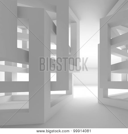 Abstract Empty White Modern Interior Fragment