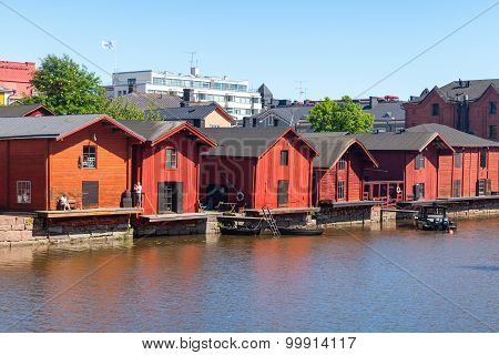 Old Red Wooden Houses Of Porvoo, Finland