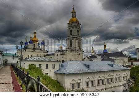 Tobolsk Kremlin And Belfry Sophia-assumption Cathedral Panorama Menacing Sky