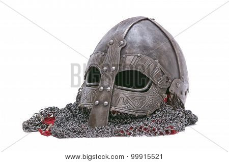 Viking Helmet On A White Background
