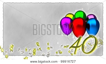 birthday concept with colorful baloons - 40th