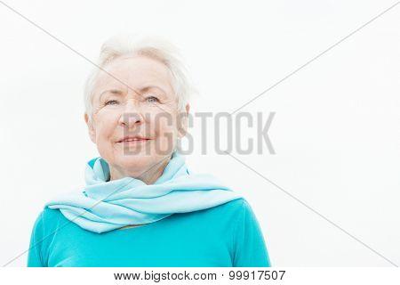 Smililing senior woman with grey hair
