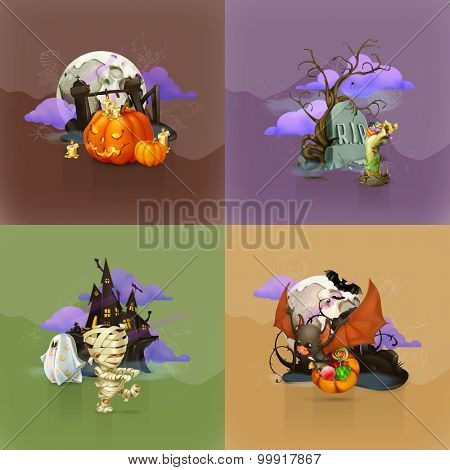Halloween concepts, set of vector backgrounds