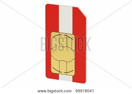 Sim Card With Flag Of Austria