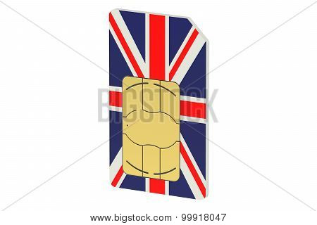 Sim Card With Flag Of Uk