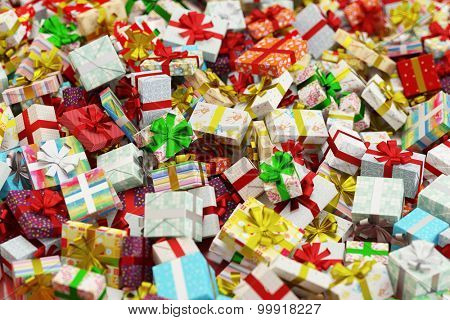 Abundance of many different colorful gifts for christmas (3D Rendering)